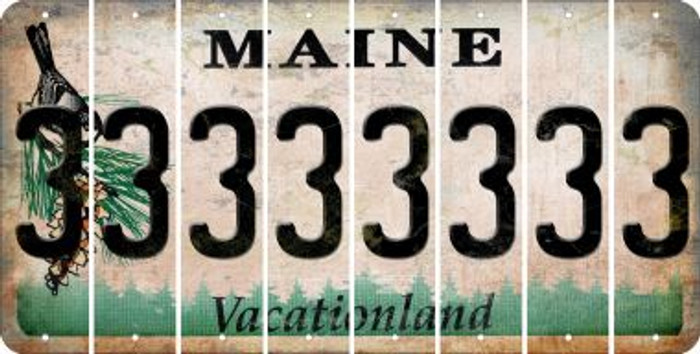 Maine 3 Cut License Plate Strips (Set of 8) LPS-ME1-030