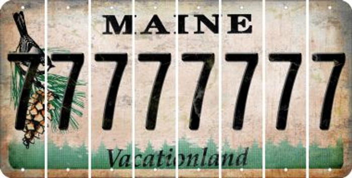 Maine 7 Cut License Plate Strips (Set of 8) LPS-ME1-034