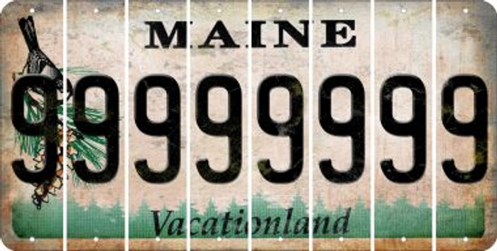 Maine 9 Cut License Plate Strips (Set of 8) LPS-ME1-036