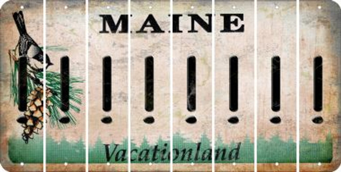 Maine EXCLAMATION POINT Cut License Plate Strips (Set of 8) LPS-ME1-041
