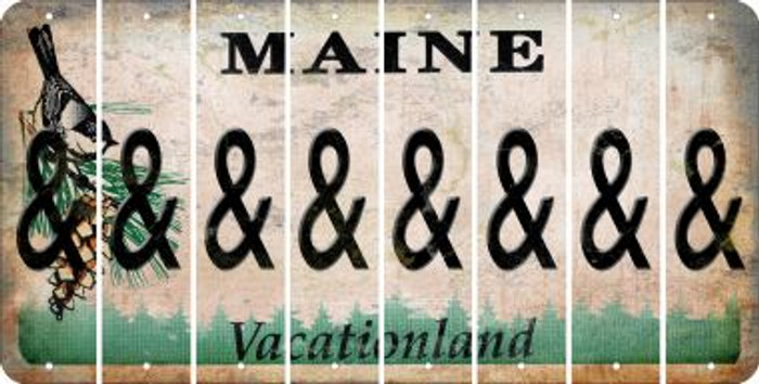 Maine AMPERSAND Cut License Plate Strips (Set of 8) LPS-ME1-049