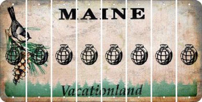 Maine HAND GRENADE Cut License Plate Strips (Set of 8) LPS-ME1-050