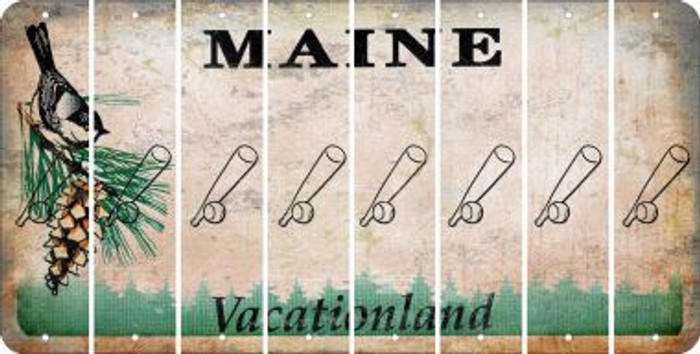 Maine BASEBALL WITH BAT Cut License Plate Strips (Set of 8) LPS-ME1-057