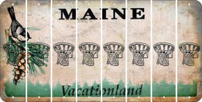 Maine BASKETBALL HOOP Cut License Plate Strips (Set of 8) LPS-ME1-058
