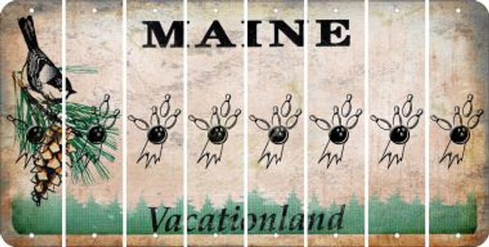 Maine BOWLING Cut License Plate Strips (Set of 8) LPS-ME1-059