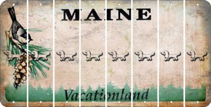 Maine DOG Cut License Plate Strips (Set of 8) LPS-ME1-073