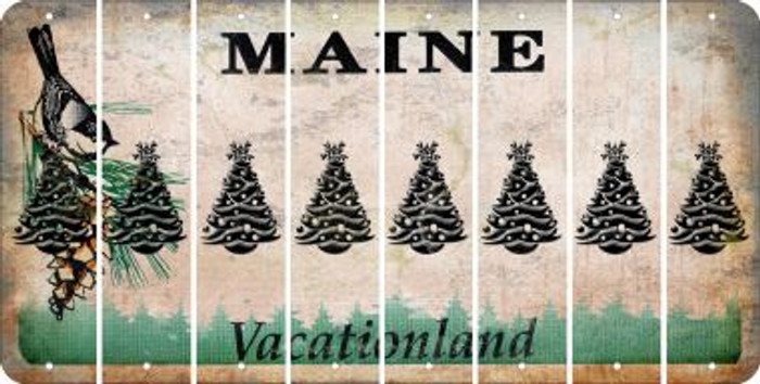 Maine CHRISTMAS TREE Cut License Plate Strips (Set of 8) LPS-ME1-077