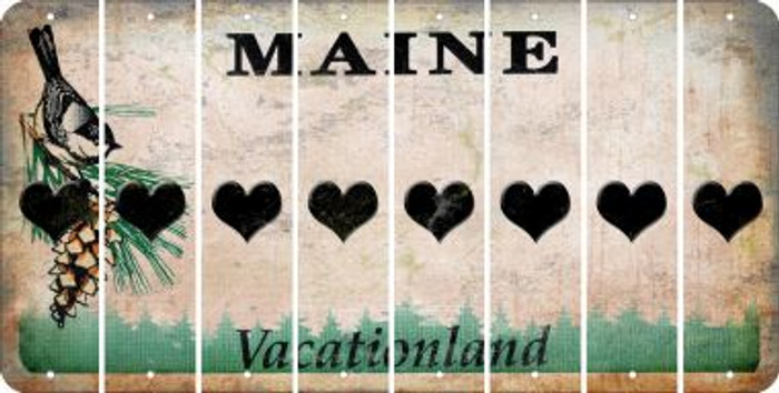 Maine HEART Cut License Plate Strips (Set of 8) LPS-ME1-081