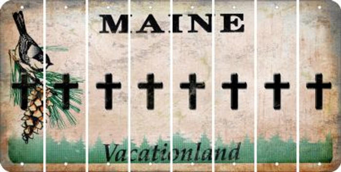 Maine CROSS Cut License Plate Strips (Set of 8) LPS-ME1-083