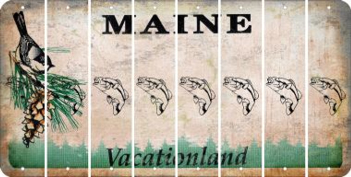 Maine FISH Cut License Plate Strips (Set of 8) LPS-ME1-086