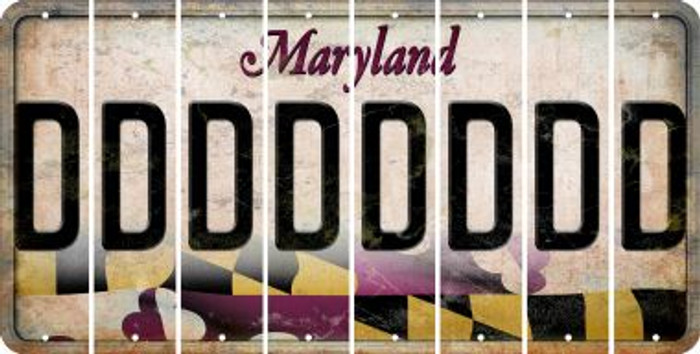 Maryland D Cut License Plate Strips (Set of 8) LPS-MD1-004