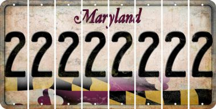 Maryland 2 Cut License Plate Strips (Set of 8) LPS-MD1-029