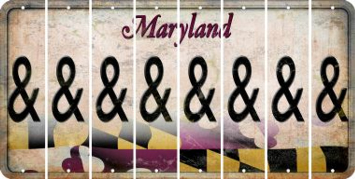 Maryland AMPERSAND Cut License Plate Strips (Set of 8) LPS-MD1-049