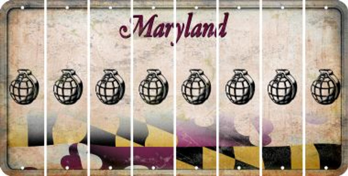Maryland HAND GRENADE Cut License Plate Strips (Set of 8) LPS-MD1-050