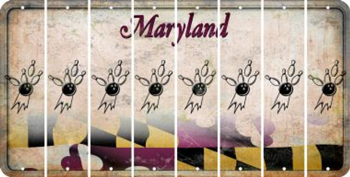 Maryland BOWLING Cut License Plate Strips (Set of 8) LPS-MD1-059