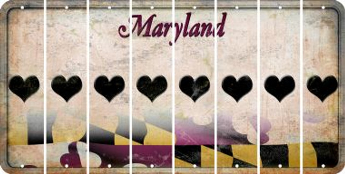 Maryland HEART Cut License Plate Strips (Set of 8) LPS-MD1-081