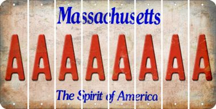 Massachusetts A Cut License Plate Strips (Set of 8) LPS-MA1-001
