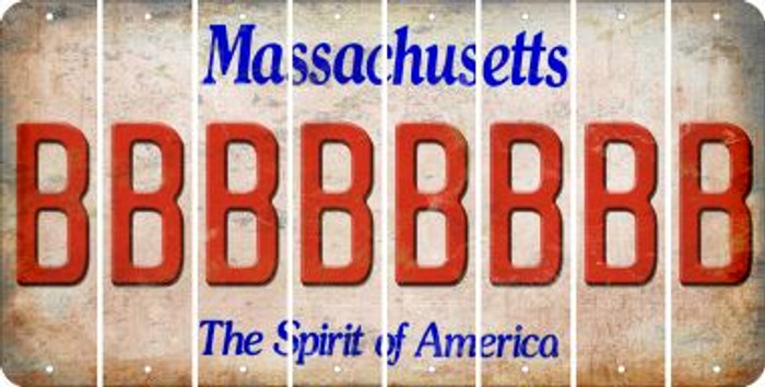 Massachusetts B Cut License Plate Strips (Set of 8) LPS-MA1-002