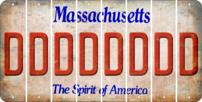 Massachusetts D Cut License Plate Strips (Set of 8) LPS-MA1-004