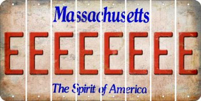 Massachusetts E Cut License Plate Strips (Set of 8) LPS-MA1-005