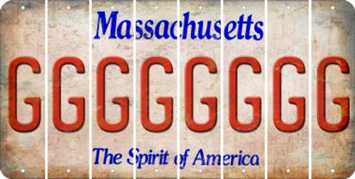 Massachusetts G Cut License Plate Strips (Set of 8) LPS-MA1-007