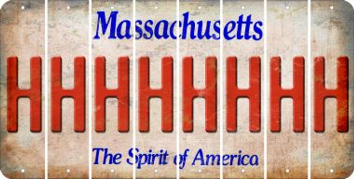 Massachusetts H Cut License Plate Strips (Set of 8) LPS-MA1-008