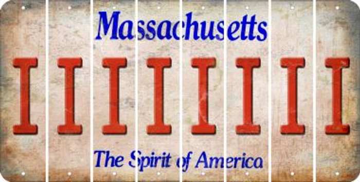 Massachusetts I Cut License Plate Strips (Set of 8) LPS-MA1-009