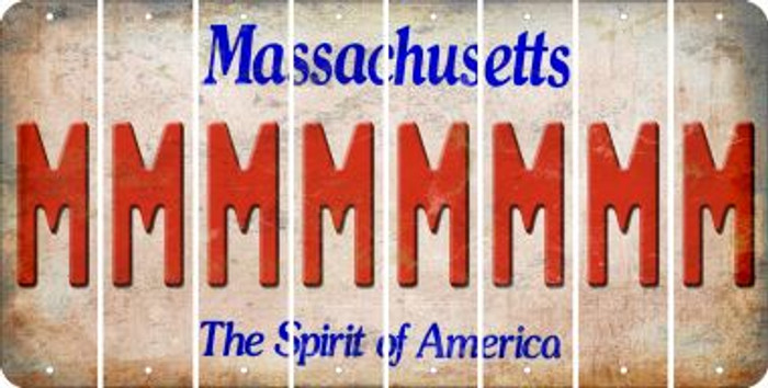 Massachusetts M Cut License Plate Strips (Set of 8) LPS-MA1-013