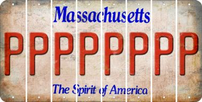 Massachusetts P Cut License Plate Strips (Set of 8) LPS-MA1-016