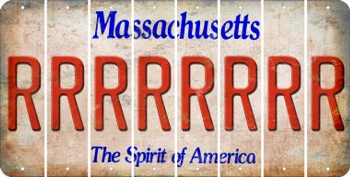Massachusetts R Cut License Plate Strips (Set of 8) LPS-MA1-018