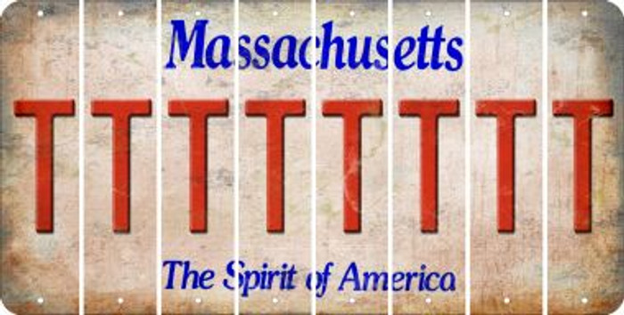 Massachusetts T Cut License Plate Strips (Set of 8) LPS-MA1-020