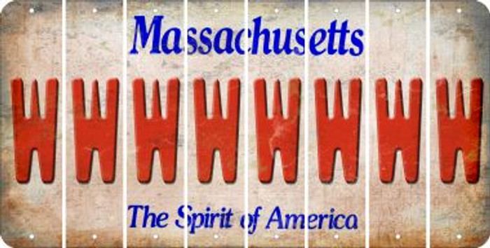 Massachusetts W Cut License Plate Strips (Set of 8) LPS-MA1-023