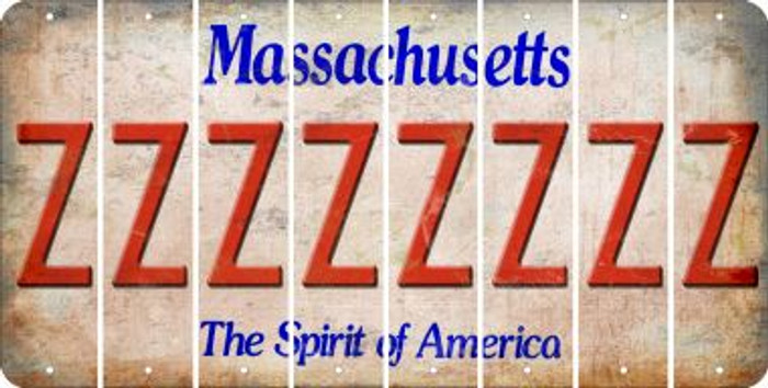 Massachusetts Z Cut License Plate Strips (Set of 8) LPS-MA1-026
