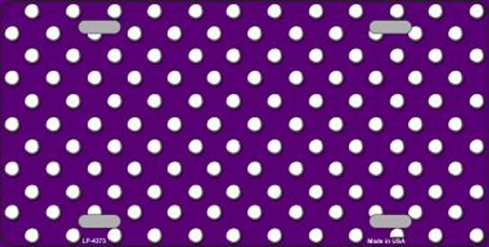 Purple White Polka Dot Wholesale Metal Novelty License Plate