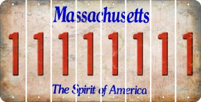 Massachusetts 1 Cut License Plate Strips (Set of 8) LPS-MA1-028