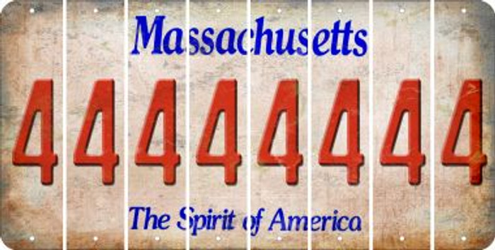 Massachusetts 4 Cut License Plate Strips (Set of 8) LPS-MA1-031