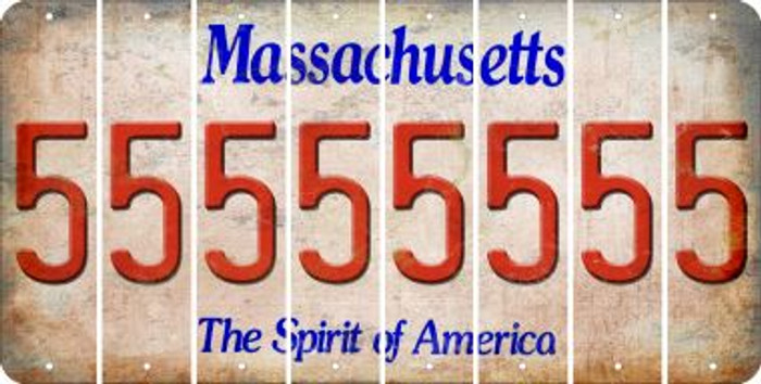 Massachusetts 5 Cut License Plate Strips (Set of 8) LPS-MA1-032