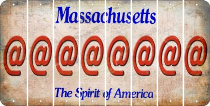 Massachusetts ASPERAND Cut License Plate Strips (Set of 8) LPS-MA1-039