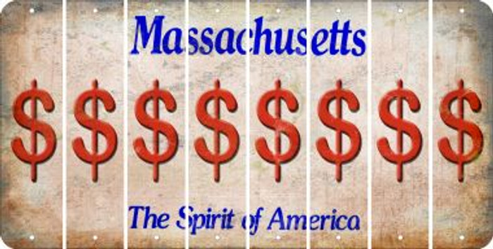 Massachusetts DOLLAR SIGN Cut License Plate Strips (Set of 8) LPS-MA1-040