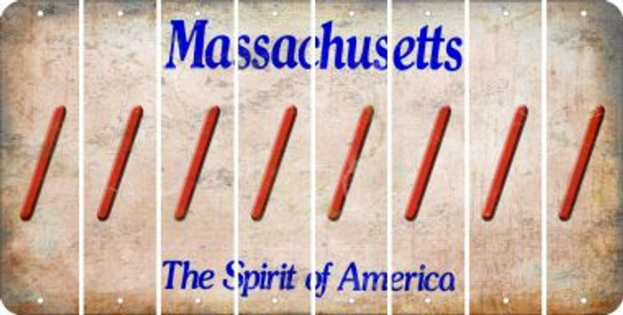 Massachusetts FORWARD SLASH Cut License Plate Strips (Set of 8) LPS-MA1-042