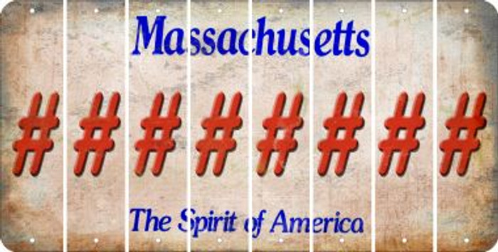 Massachusetts HASHTAG Cut License Plate Strips (Set of 8) LPS-MA1-043