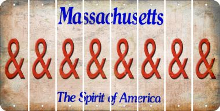 Massachusetts AMPERSAND Cut License Plate Strips (Set of 8) LPS-MA1-049