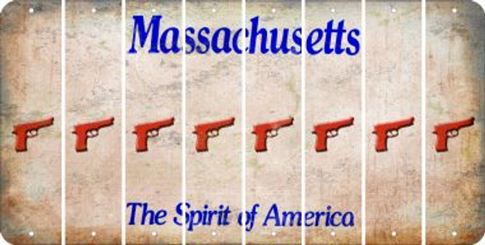 Massachusetts HANDGUN Cut License Plate Strips (Set of 8) LPS-MA1-051