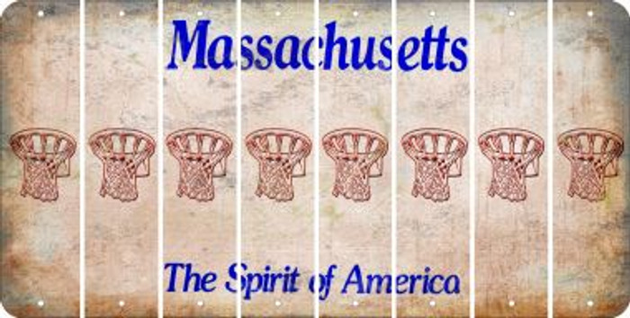 Massachusetts BASKETBALL HOOP Cut License Plate Strips (Set of 8) LPS-MA1-058