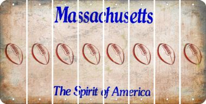 Massachusetts FOOTBALL Cut License Plate Strips (Set of 8) LPS-MA1-060