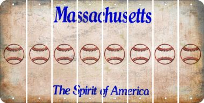 Massachusetts BASEBALL / SOFTBALL Cut License Plate Strips (Set of 8) LPS-MA1-063