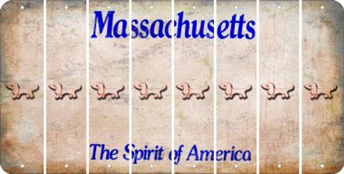 Massachusetts DOG Cut License Plate Strips (Set of 8) LPS-MA1-073