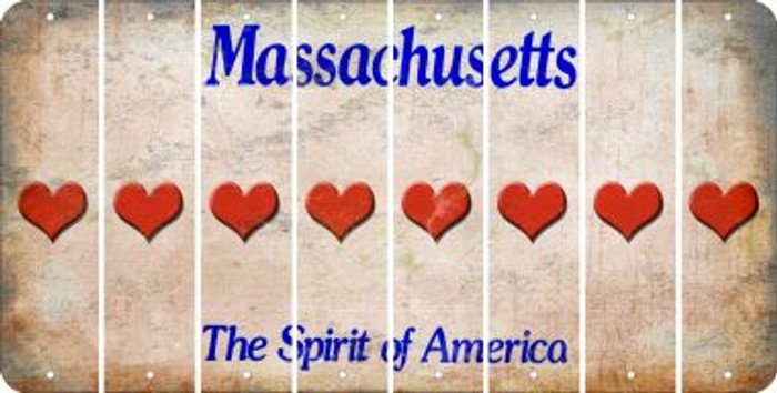 Massachusetts HEART Cut License Plate Strips (Set of 8) LPS-MA1-081