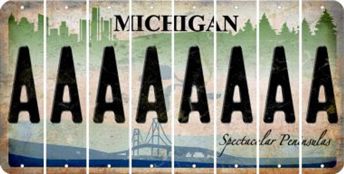 Michigan A Cut License Plate Strips (Set of 8) LPS-MI1-001