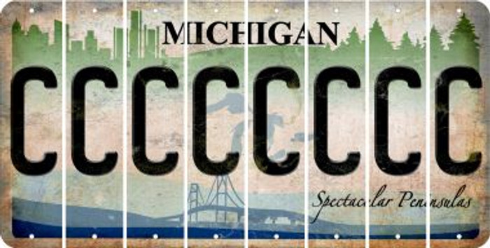 Michigan C Cut License Plate Strips (Set of 8) LPS-MI1-003